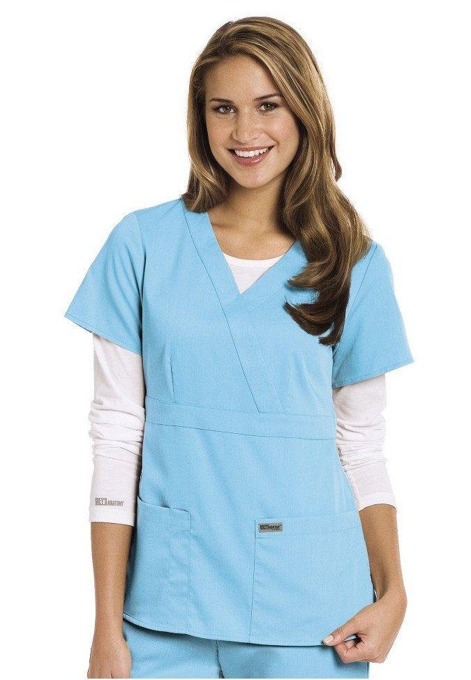 Greys Anatomy 3 Pocket Mock Wrap Scrub Top Love The Ice Blue