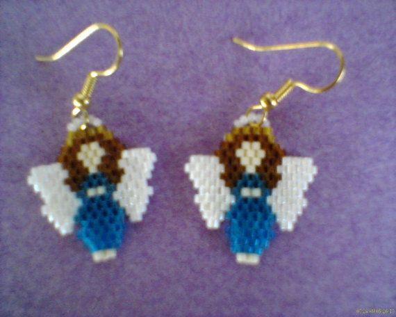 Brick Stitch Angel Earrings Delica beads by Beadedforu on Etsy, $8.00