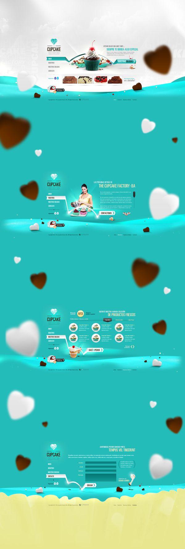 The Cupcake Factory - http://www.behance.net/gallery/Cupcake-Factory/5137463 | More Inspiration http://blog.logoswish.com/category/inspiration/ #web #design #inspiration
