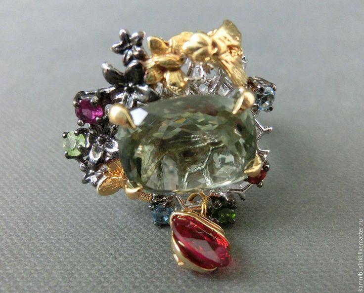Купить 17 р-р кольцо с зеленым аметистом, гранатом, топазом серебро 925 - разноцветный