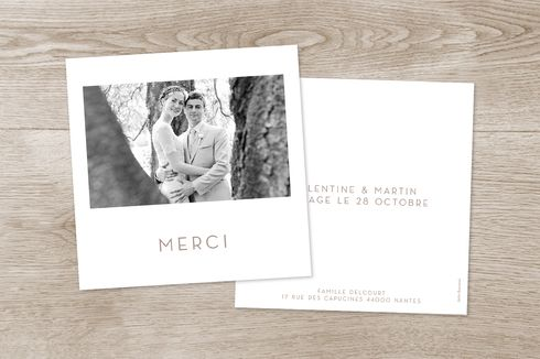 carte de remerciement mariage simple 1 photo