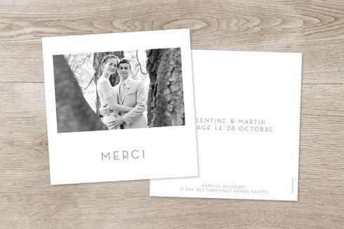 Esprit photo polaroid pour la carte de remerciement de mariage Simple #wedding #thankyou #mariage #merci #polaroid