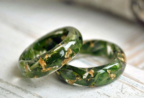 eco resin ring  nature rings flowers in resin nature by VyTvir