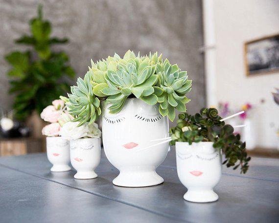 Face Planter Gift For Her Head Planter Flower Vase Etsy Face Planters Planter Gift Flower Planters