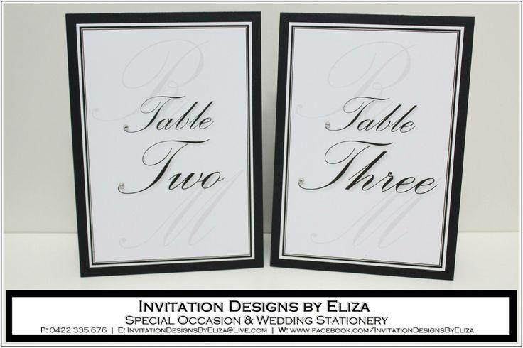 Table Number Design {Wedding} Black & White Theme www.facebook.com/InvitationDesignsByEliza