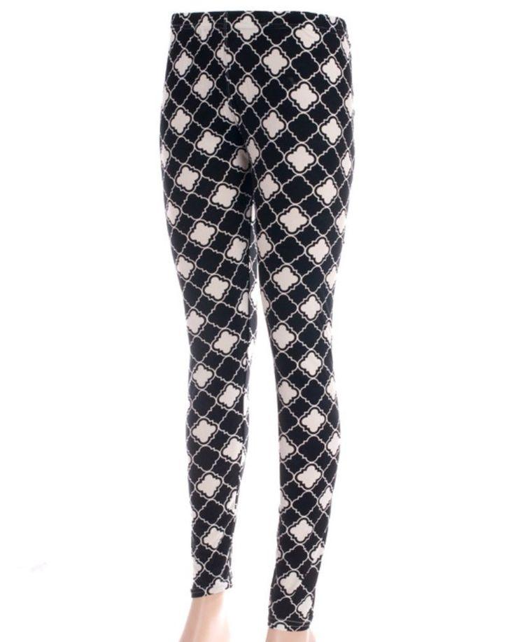 New Quatrefoil Leggings Black White Long Length Sizes Small/Medium #JuliaCollection
