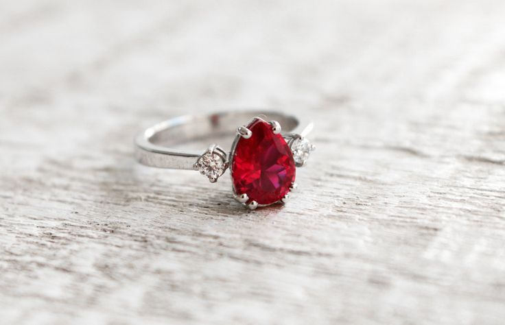 Luxury Silver Pear Ruby Ring Pear Cut Ring Red Gemstone