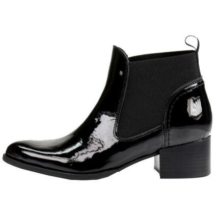 gl nzende ankle boots in schwarz von sacha chelsea boots. Black Bedroom Furniture Sets. Home Design Ideas
