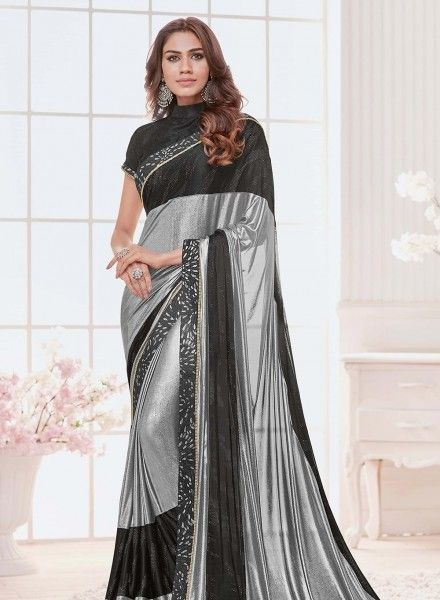 89586ed1e8 Saree Online Shopping: Buy Latest Indian Sarees at Best Price. Silver Lycra  Saree sku:518166 518166