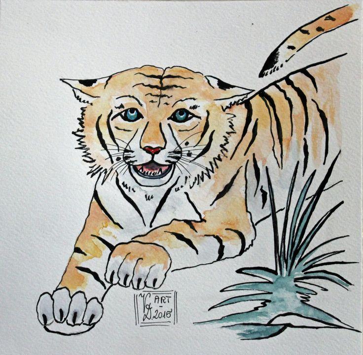 Tiger am Sprung, Tusche/Aquarell, eigene Malerei