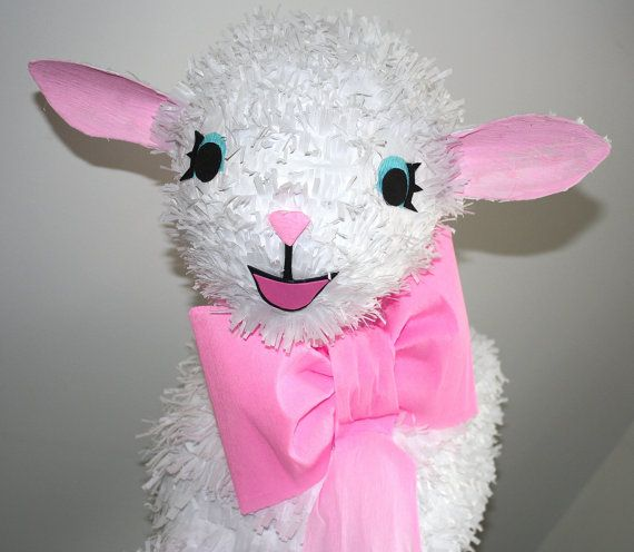Ready to ship!  This cute Lamb Pinata can also be used as a party decor.  Its made of recycled cardboard, paper mache, Tissue and Crepe
