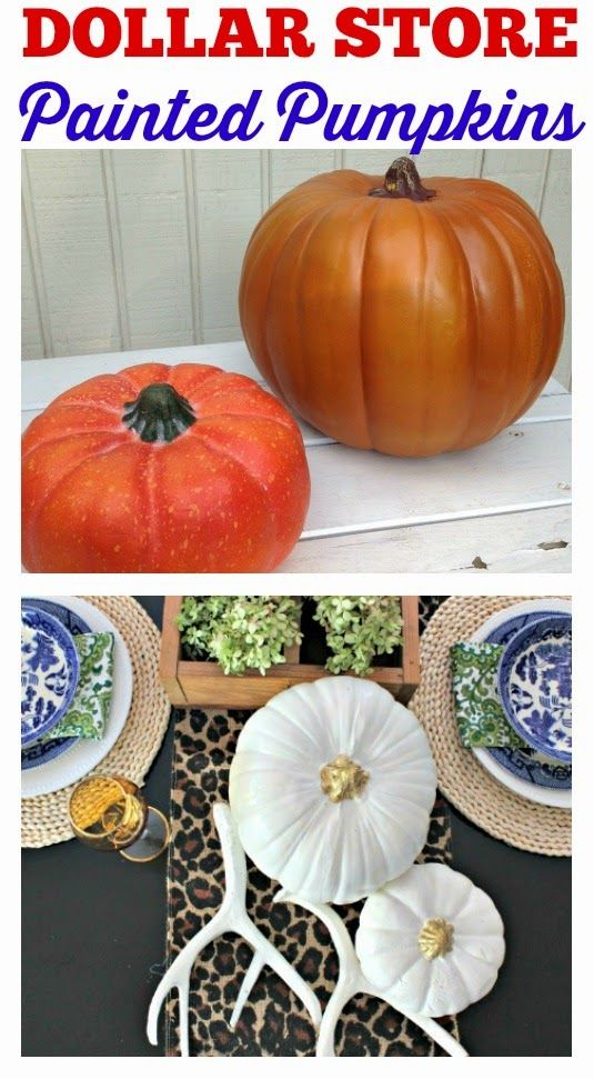 Gussy Up Your Dollar Store Pumpkins! White and Gold Painted Pumpkins, Simple Dollar Tree Pumpkin Makeover