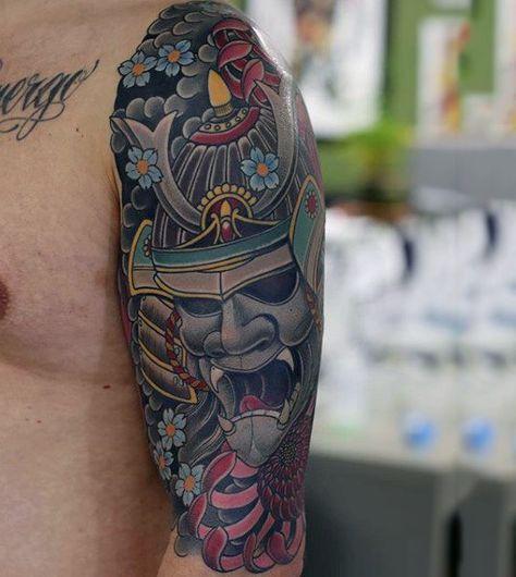 100 Japanese Samurai Mask Tattoo Designs For Men