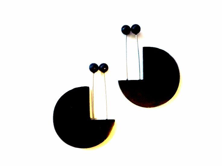 Vintage Ohrhänger - MODERNIST 80er Vintage Handarbeit Ohrringe - ein Designerstück von Mont_Klamott bei DaWanda
