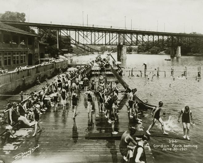 MIlwaukee Journal Sentinal Archives via Wisconsin Trails. Gordon Park bathhouse on the Milwaukee River in 1921.