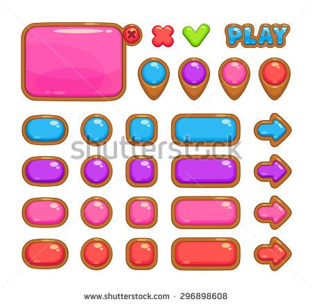Cute vector user interface for web or game design including panel, map pointers and different buttons - stock vector