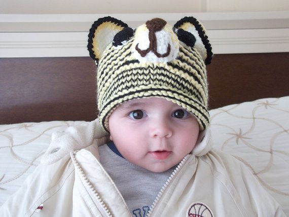 Yellow and Black Tiger Hat Knitting Baby  Hat   by myknittingworld, $25.00