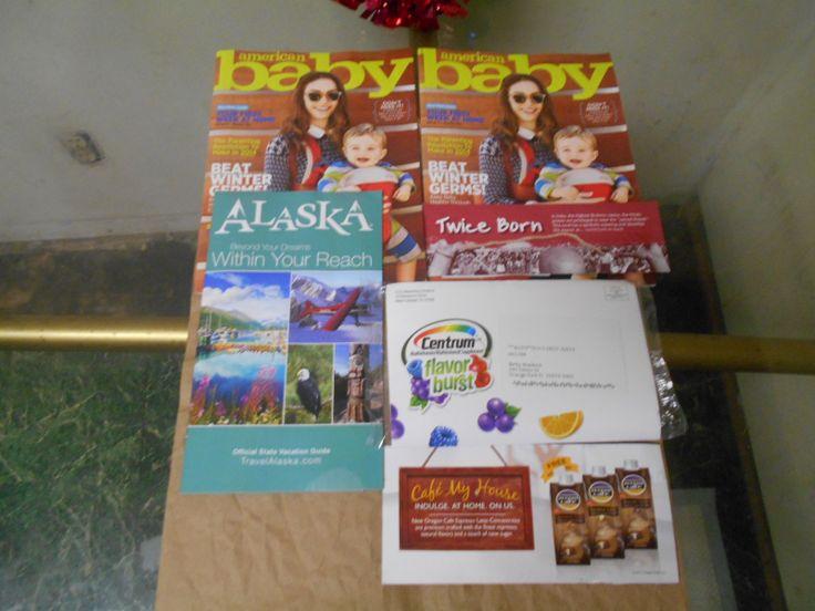January 2.2014/ 1. 2 American baby magazine/ 2. Alaska vacation guide booklet./ 3. centrum flavor burst multivitamins sample/ 4. day spring international thread of misery or life./ 5. Oregon café  1 free Oregon café product coupon.