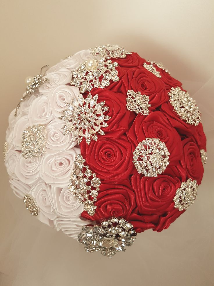 """Red Roses Bridal Brooch Bouquet, Wedding Bouquet, Red Bouquet. Swirl Design/Ying & Yang striking red and white handmade satin ribbon roses. Silver tone brooch accents. 10"""" bouquet."""