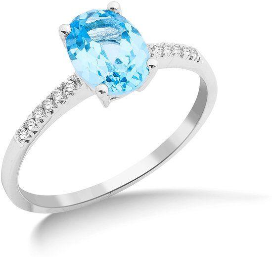 Majestine 9 Karaat Ring Witgoud met Diamant 0.10ct en Blue Topaz 1.11ct Maat 52