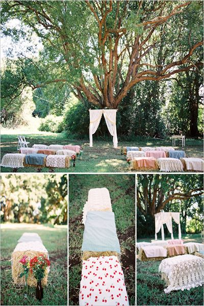 "By the way, what do you do with Straw Bales once you're done with them?  You can turn them into raised garden beds!  See my Gardening Board for links to what can be done.  The ultimate in ""green"" wedding ideas, LOL!"
