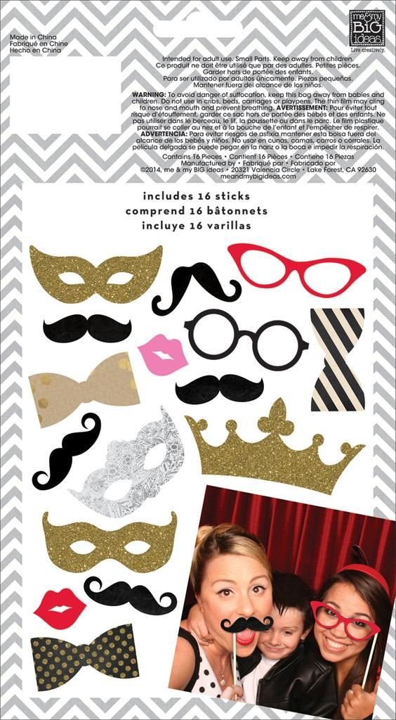 Get ready to have some fun with these playful photo props. Each package includes 16 die cut shapes, such as glittery gold crowns, masks, bowties, glasses, mustaches and lips. Just secure your props to