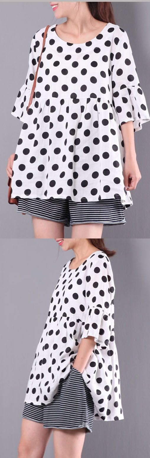 summer white dotted linen tops plus size pullover ruffles half sleeve t shirt