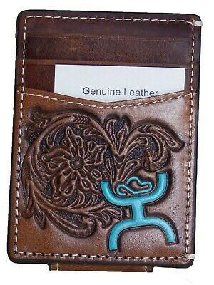 HOOey Mens Western Money Clip Credit Card Wallet Turquoise SIGNATURE Logo Brown