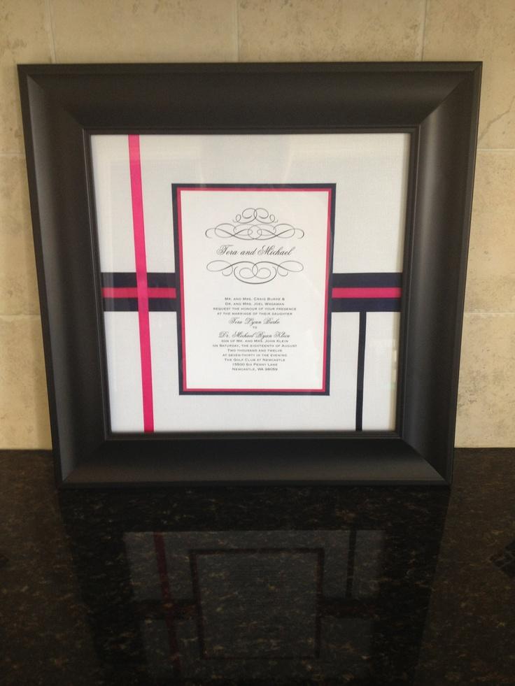 custom framed wedding invitation