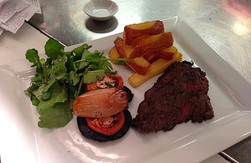 Yorkshire Hanger steak served with  Watercress, Mushroom, Tomato, Roast Shallots, Goose Fat Fried Handcut Chips