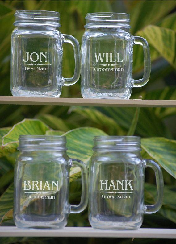 Set of 4, Groomsmen Gift, Mason Jar Glasses - Personalized Mason Jar, Engraved Mason Mug, - Wedding Party Glasses