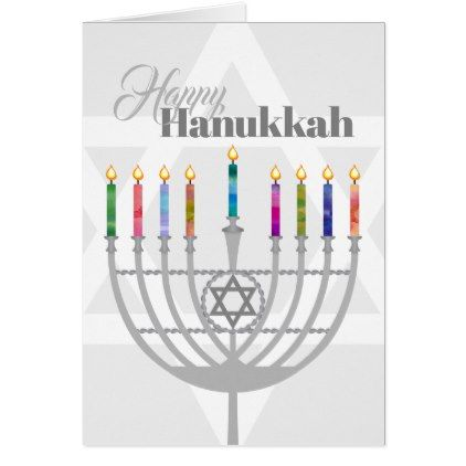 Personalized Happy Hanukkah Candles & Menorah Card - holiday card diy personalize design template cyo cards idea