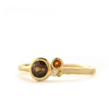 Unieke ring bruine kleurstenen | Wim Meeussen Goudsmid Antwerpen