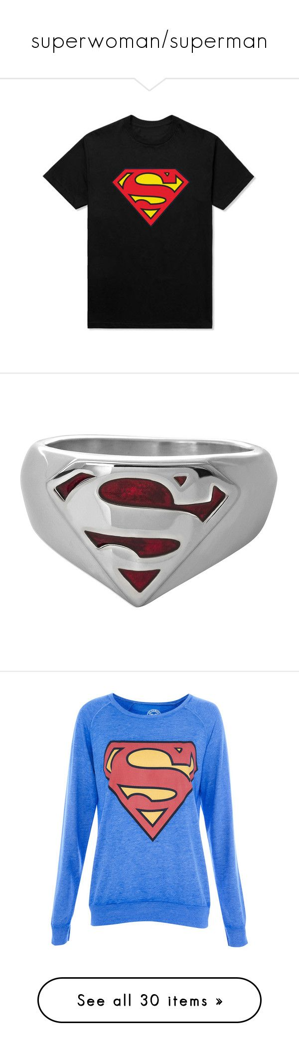 """""""superwoman/superman"""" by coolcat64265leeacoiron ❤ liked on Polyvore featuring tops, t-shirts, cotton t shirts, cotton tees, jewelry, rings, accessories, comics, stainless steel superman ring and stainless steel rings"""