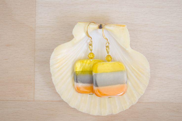 Square Seashell Earrings - Ombre Earrings - Sea Shell Jewelry - Yellow-Gray-Orange Earrings - Natural Jewelry - Dangle Earrings by SkadiJewelry on Etsy