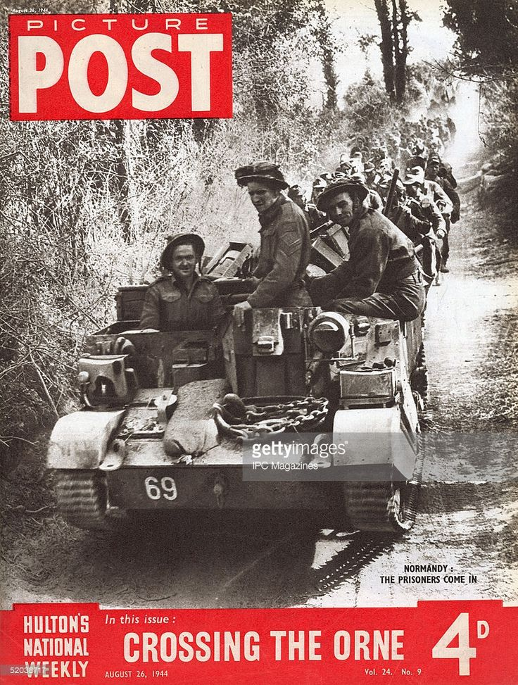 Prisoners-of-war being transported through Normandy : the cover of Picture Post magazine, 26th August 1944. The headline beneath reads 'Crossing the Orne'.