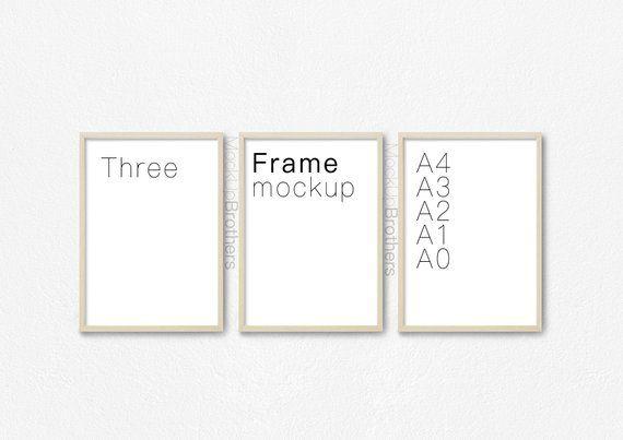 Three Portrait Frame Mockup 8x12 Brown Wood Triple Frame Mock Etsy In 2021 Portrait Frame Frame Mockups Frame