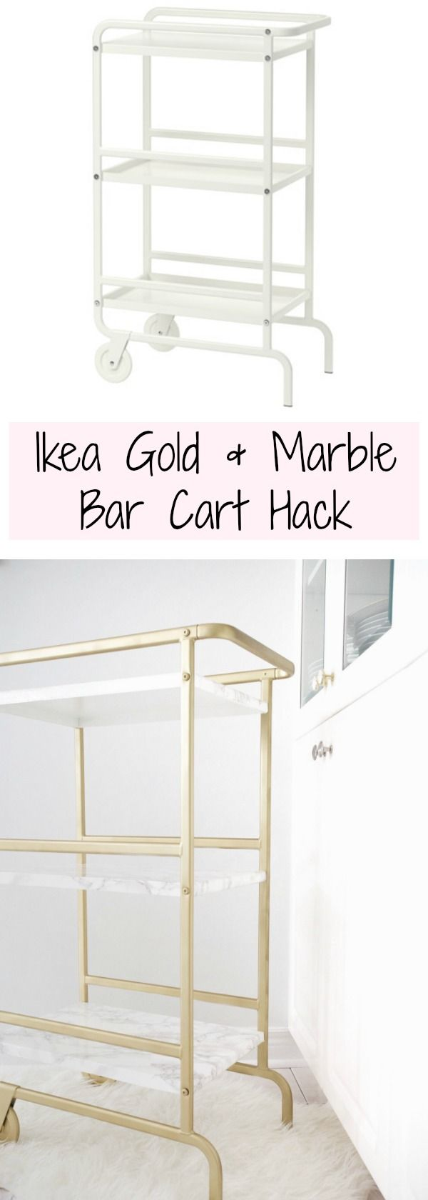 Turn this plain white kitchen cart into a gold and marble dream bar cart!