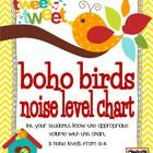 Give your students a visual representation of their noise levels and where you want them to be.  This noise level chart has a boho bird classroom t...