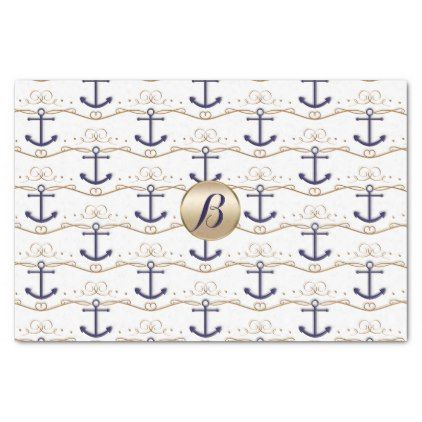 Gold White Anchors Nautical Monogram Modern Party Tissue Paper - monogram gifts unique custom diy personalize