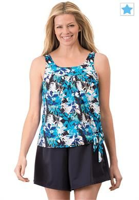 Swimsuit, side-tie blouson 2-piece skort by Swim365® | Plus Size Two Piece Swimsuits | Woman Within