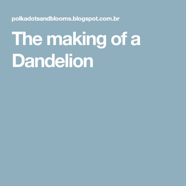 The making of a Dandelion
