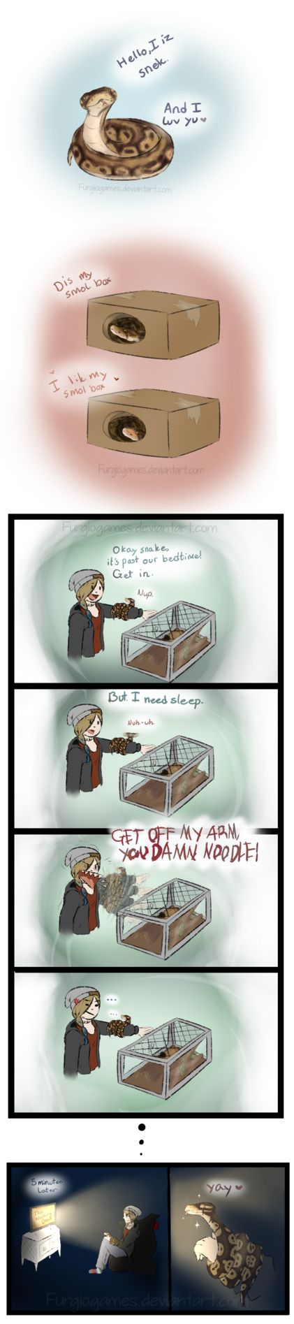 Snek comic by FurgioGames.deviantart.com on @DeviantArt<<<the accuracy of this is terrifying