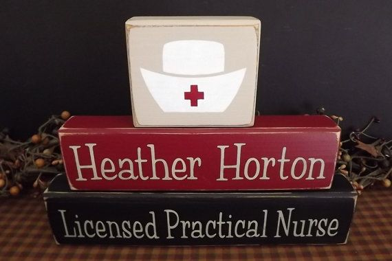 Licensed Practical Nurse Custom Wood Blocks lpn sign signs by PrimitiveHodgePodge on Etsy