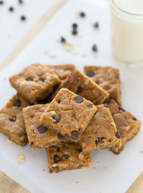 An easy, one-bowl recipe for peanut butter oatmeal bars with chocolate chips. Soft, chewy and gluten free!