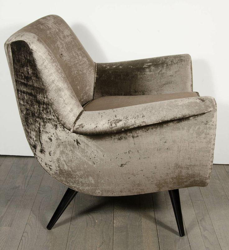 Armchair  in Lux Grey Velvet | Mid Century Modern