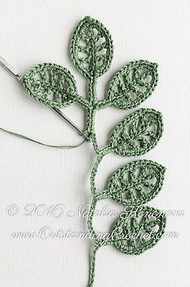 Simple Branch Irish crochet pattern / tutorial with step-by-step pictures, written instructions and charts.