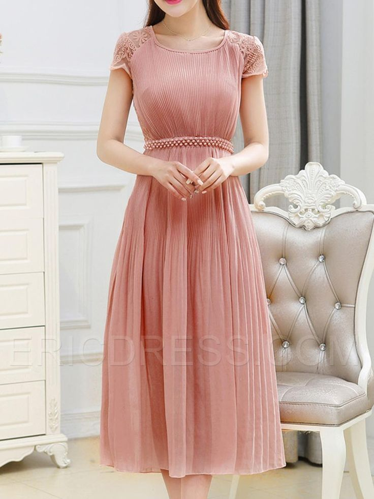 Ericdress Lace Patchwork Pleated Bead Maxi Dress 1