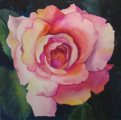 Nel's Everyday Painting: Pink Rose Watercolor - SOLD