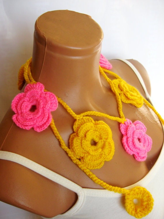 Yellow Pink Roses Lariat Scarf Fashion Flower by WomanStyleStore, $19.00